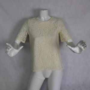 Madewell Top Lace Blouse Ivory Blouse Sheer Sz XS